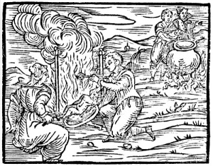 witches preparing infants